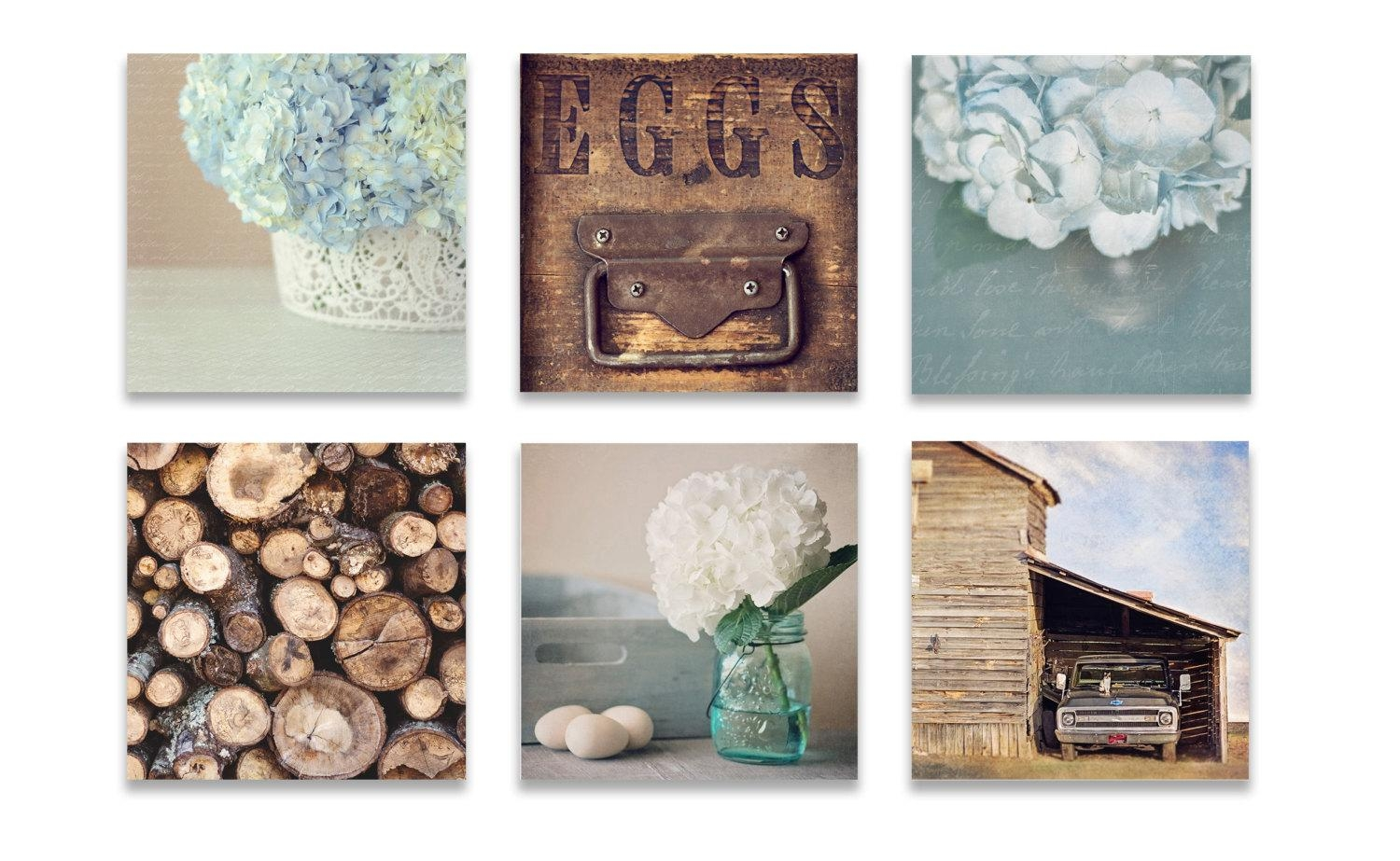 Farmhouse Wall Decor Rustic Wall Art Set Of Six Prints Blue Intended For Kitchen Wall Art Sets (Image 2 of 20)