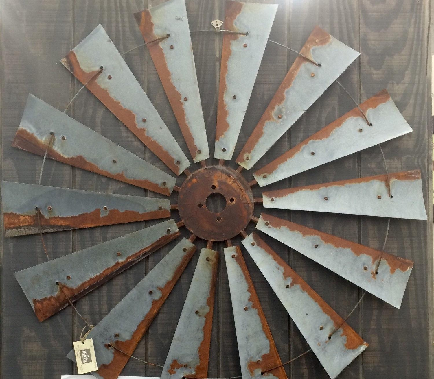 Farmhouse Windmill Metal Wall Decor 47 Inch Large Wall Intended For Large Metal Art (View 2 of 20)
