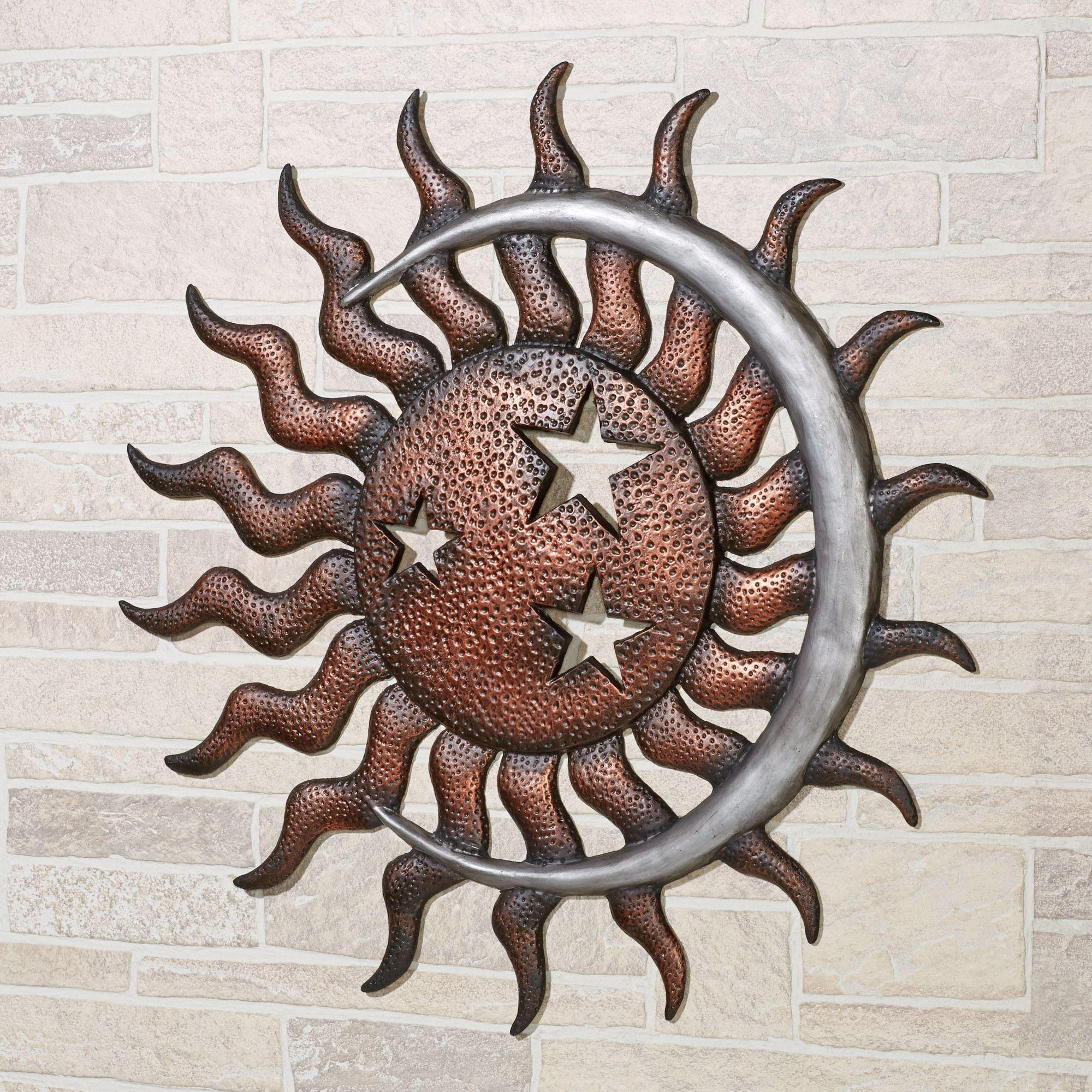 Fascinating Outdoor Metal Wall Art Sun And Moon Fiesta Sun Indoor For Wrought Iron Garden Wall Art (Image 4 of 20)