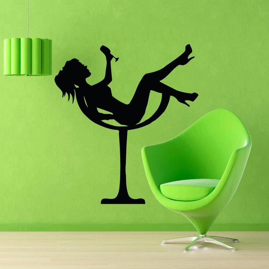 Fashion Wall Decals Girl In Martini Glass Drinking Cocktail In Martini Glass Wall Art (View 4 of 20)