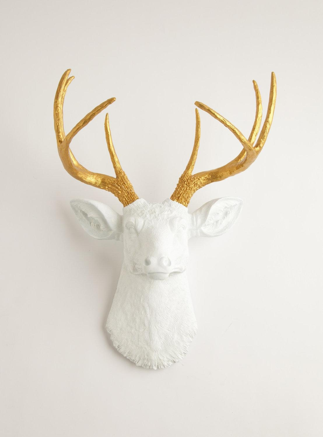 Faux Deer Head The Alfred White And Gold Decor Antlers Intended For Stag Head Wall Art (Image 9 of 20)