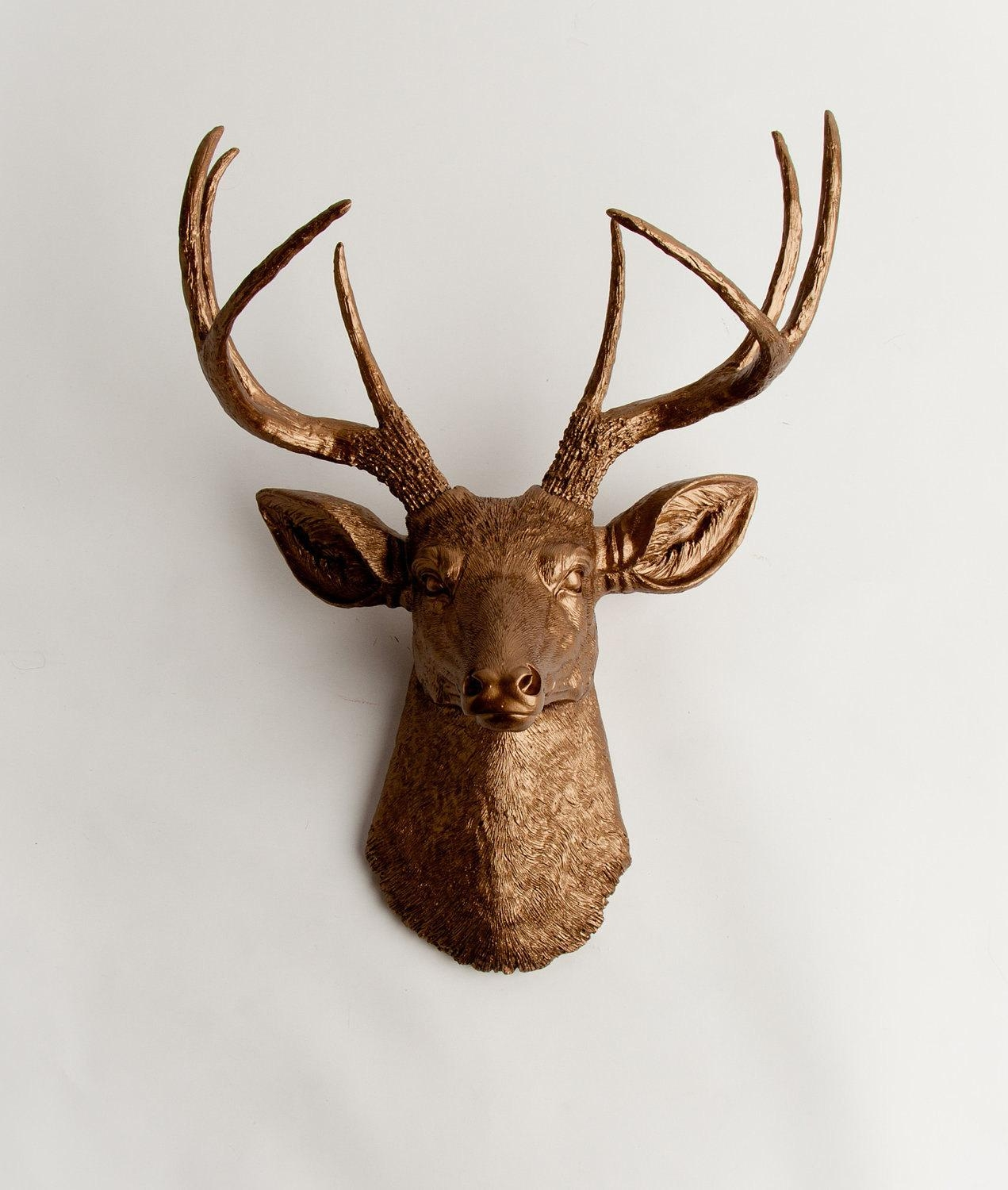 Faux Taxidermy Deer Head The Bennett Bronze Resin Stag Mount With Stags Head Wall Art (Image 9 of 20)