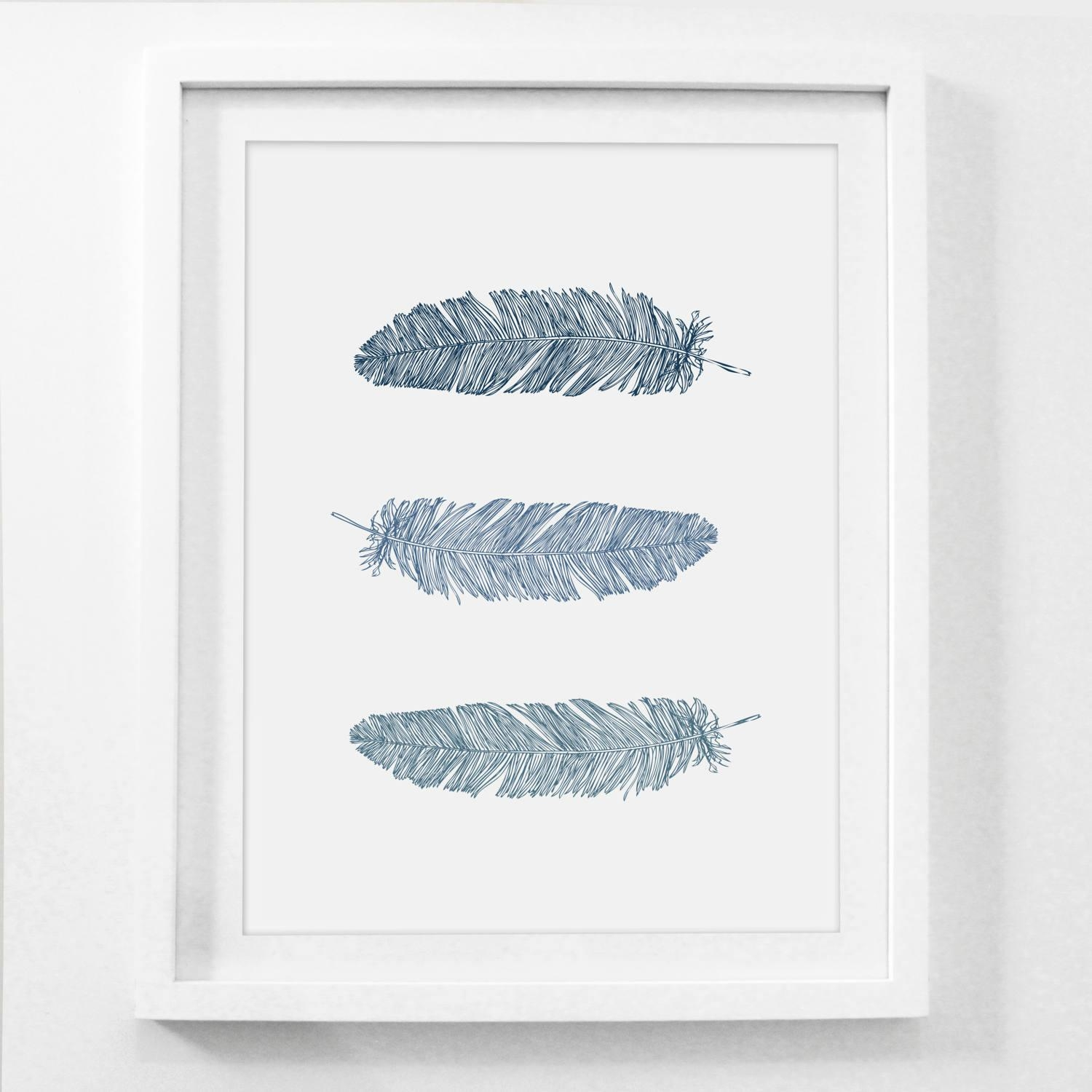 Feather Wall Art Navy Blue Wall Art Blue Prints Feather With Dark Blue Wall Art (View 6 of 20)