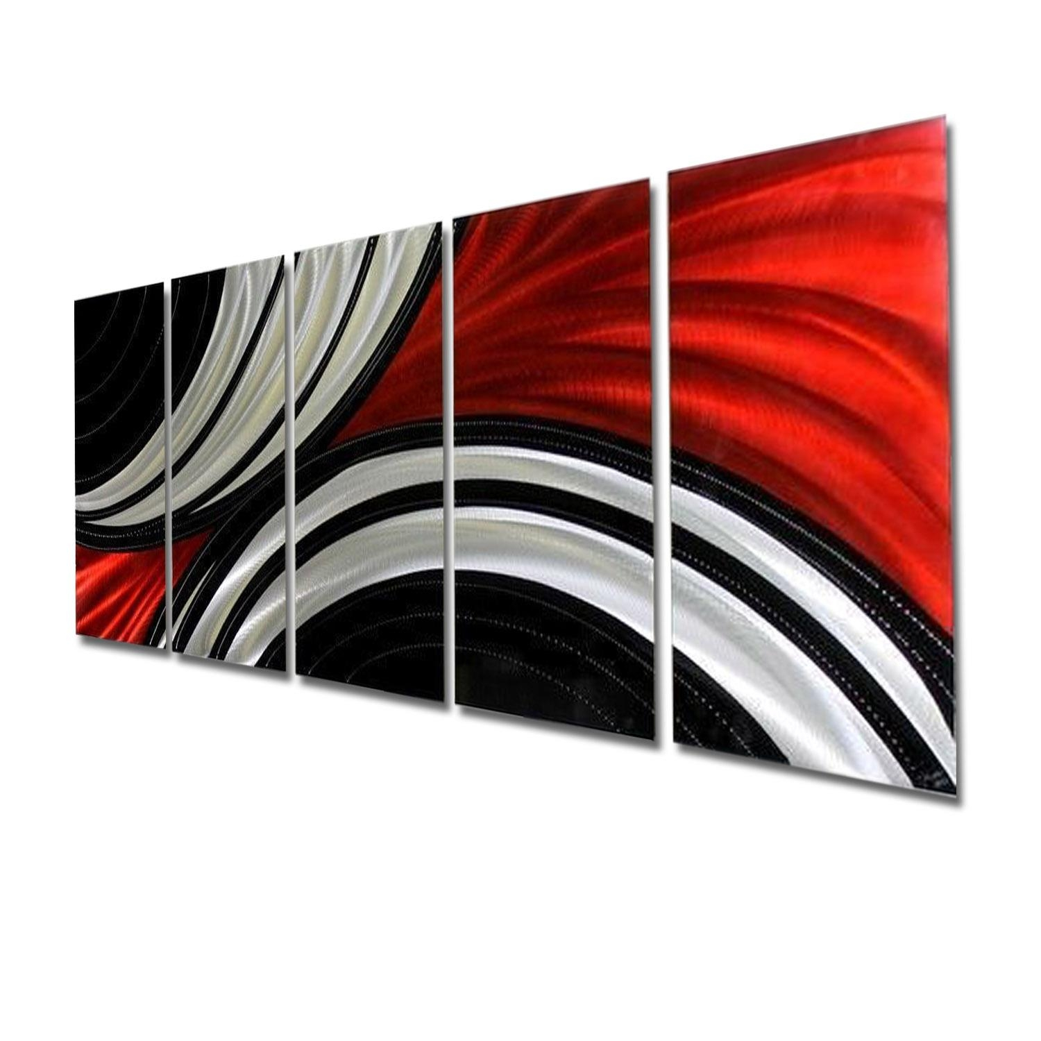 Feverish Perception Xl – Red, Black & Silver Abstract Metal Wall With Regard To Black Silver Wall Art (Image 5 of 20)