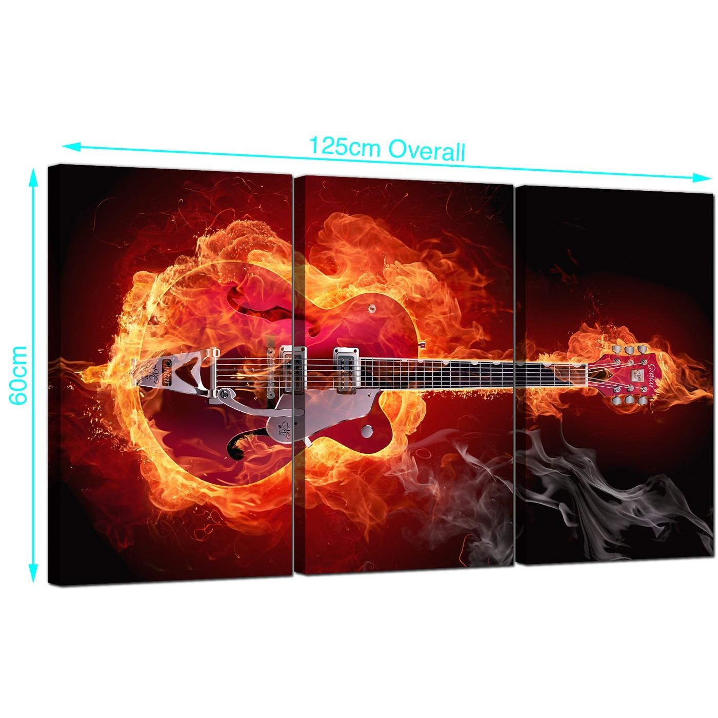 Fiery Guitar Canvas Pictures Three Part For Your Boys Bedroom In Guitar Canvas Wall Art (View 3 of 20)