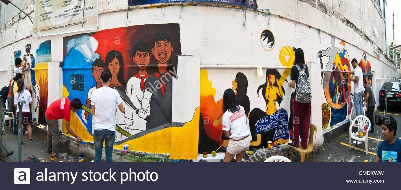 Filipino Students Paint A Mural Depicting The Philippine Inside Filipino Wall Art (Image 7 of 20)