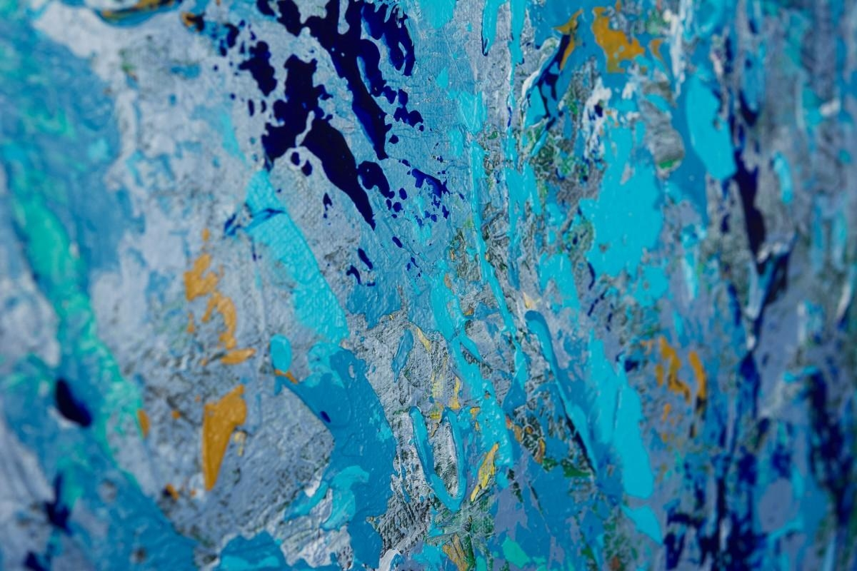 "First Snowfallqiqigallery 36""x24"" Original Modern Contemporary In Turquoise And Black Wall Art (Image 3 of 20)"