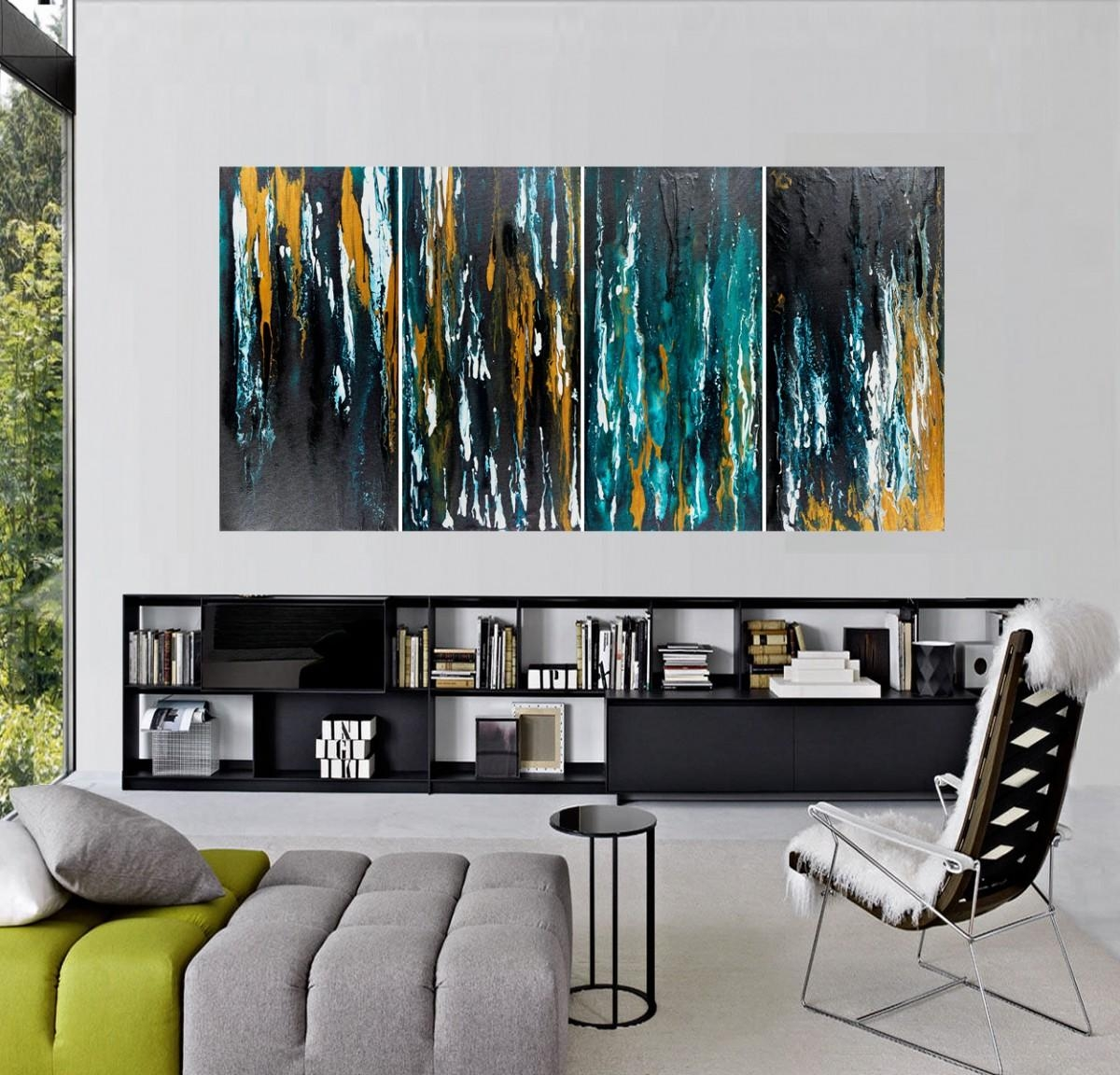 """First Snowfallqiqigallery 36""""x24"""" Original Modern Contemporary Intended For Turquoise And Black Wall Art (View 7 of 20)"""