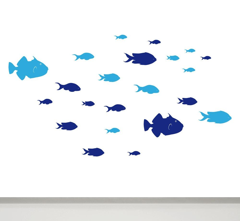 Fish Wall Decal Fish Bathroom Wall Decor Children Wall Decal With Regard To Fish Decals For Bathroom (View 5 of 20)