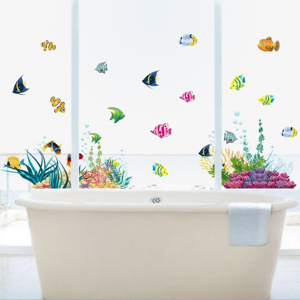 Fish Window Decal Promotion Shop For Promotional Fish Window Decal Intended For Fish Decals For Bathroom (View 11 of 20)