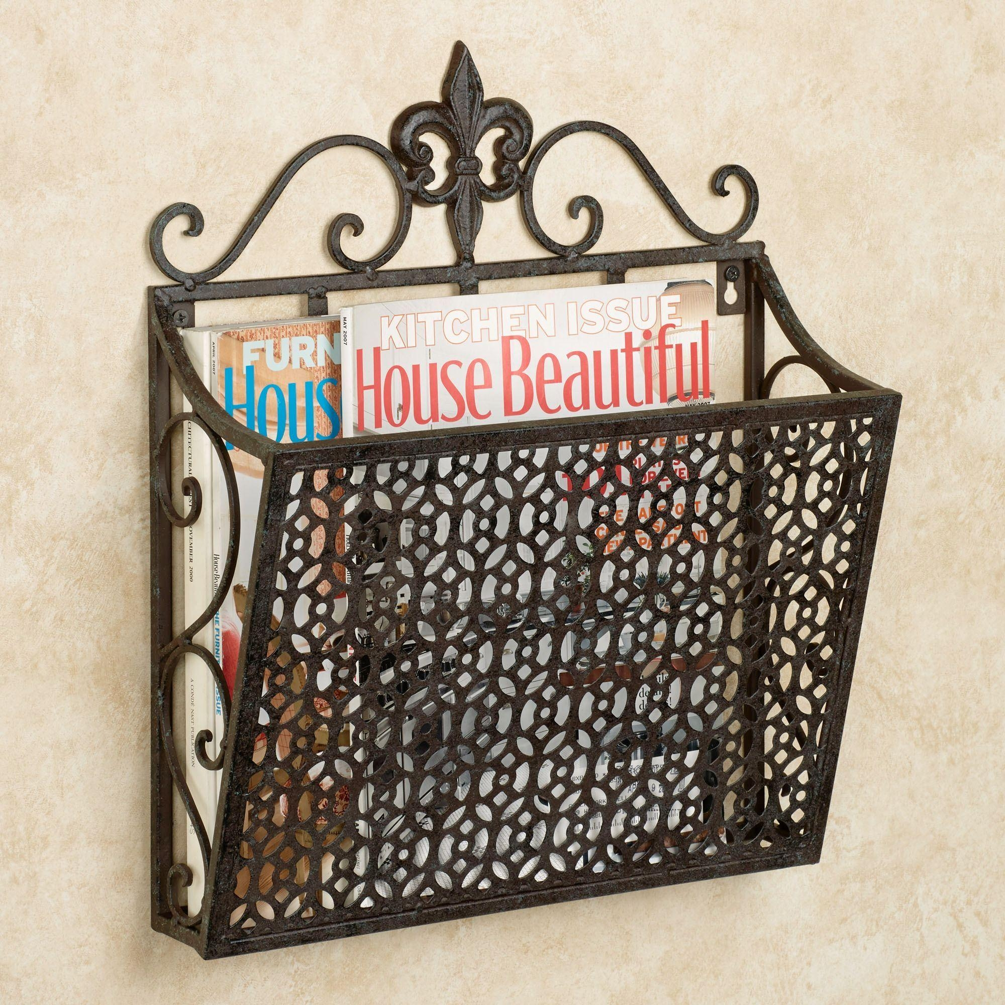 Fleur De Lis Metal Wall Magazine Rack For Fleur De Lis Metal Wall Art (Image 4 of 20)