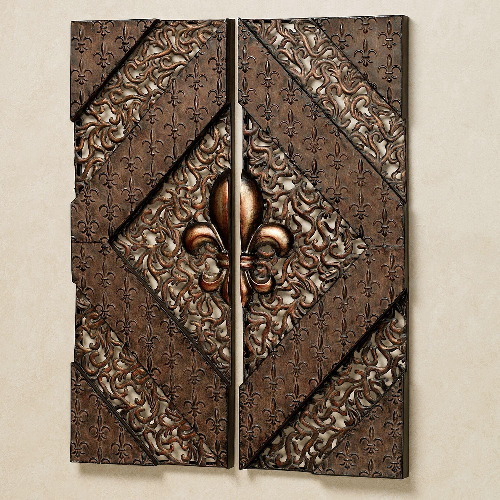 Fleur De Lis Metal Wall Panel Set Throughout Metal Fleur De Lis Wall Art (Image 6 of 20)