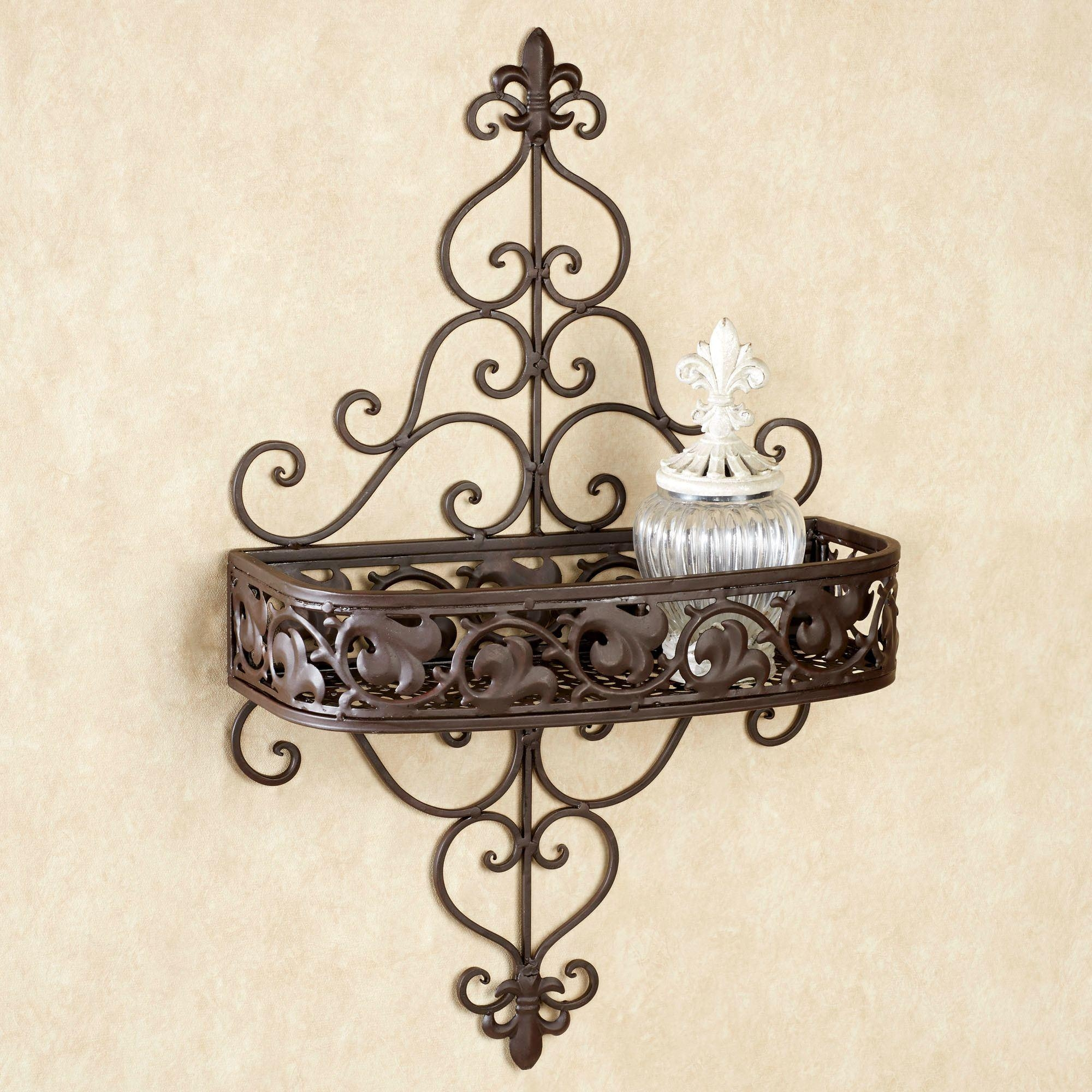 Fleur De Lis Metal Wall Shelf For Fleur De Lis Metal Wall Art (Image 6 of 20)
