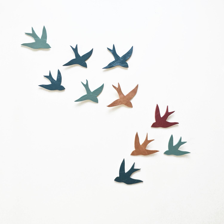 Flock 10 Ceramic Wall Art Swallows Peacock Teal Blue Merlot Within Ceramic Bird Wall Art (View 5 of 20)