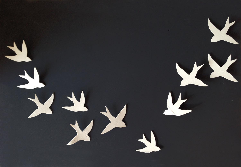 Flock 11 Porcelain Ceramic Wall Art Swallows Bird Wall Inside Ceramic Bird Wall Art (View 4 of 20)