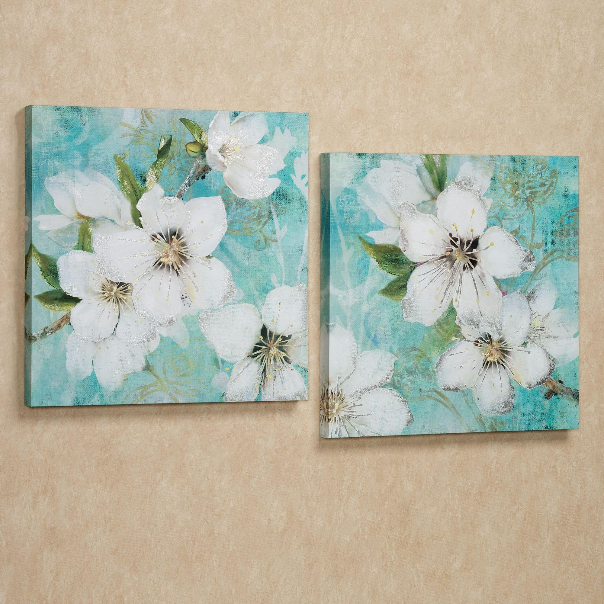 Floral And Botanical Canvas Wall Art | Touch Of Class For Teal Flower Canvas Wall Art (Image 13 of 20)