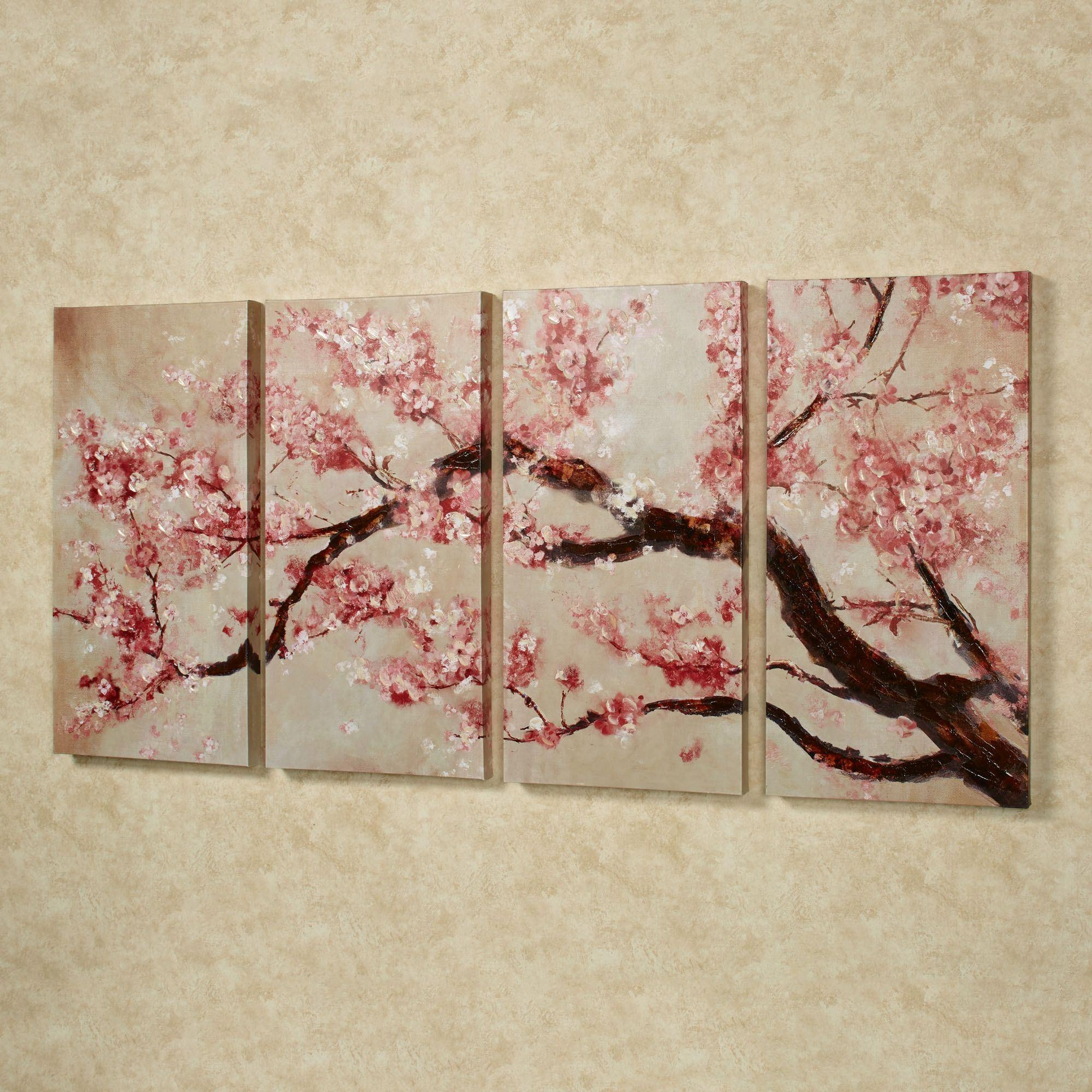 Floral And Botanical Canvas Wall Art | Touch Of Class Throughout Red Cherry Blossom Wall Art (View 20 of 20)