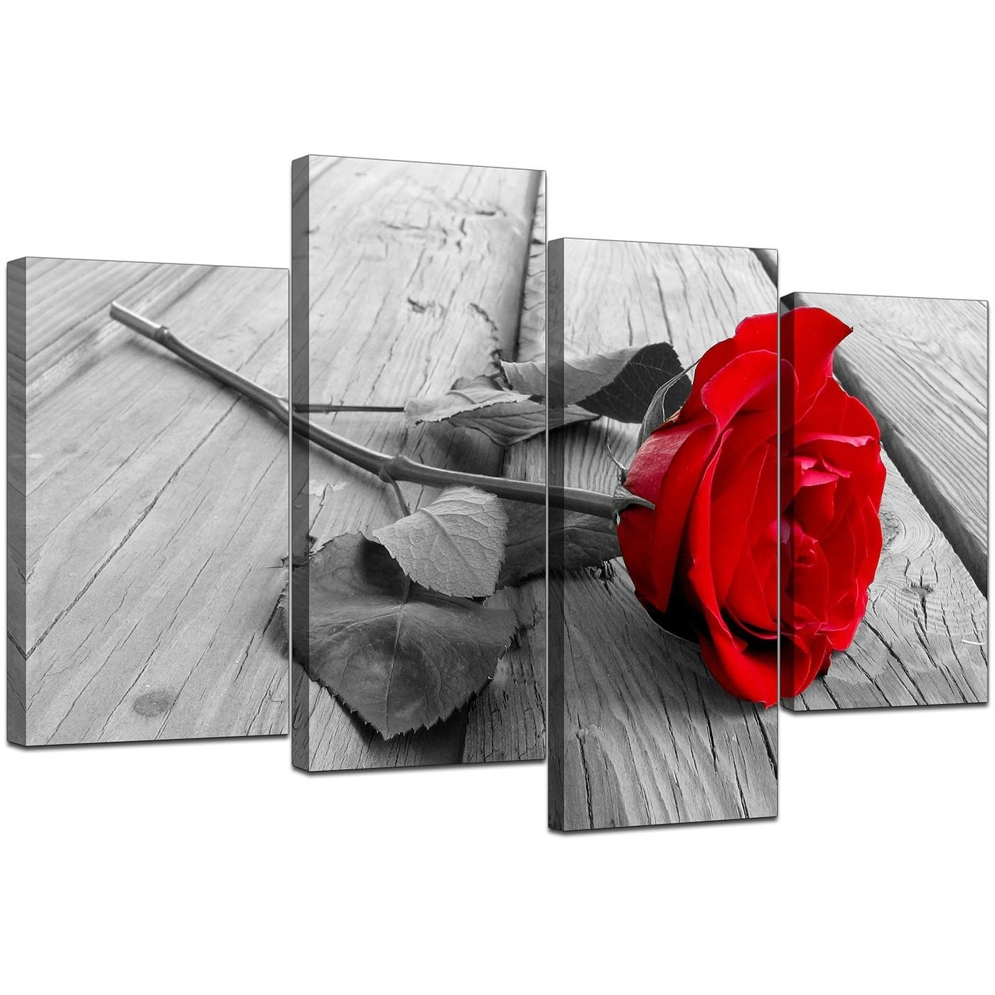 Floral Canvas Wall Art In Red Black And White – For Living Room Within Black And White Wall Art With Red (View 9 of 20)