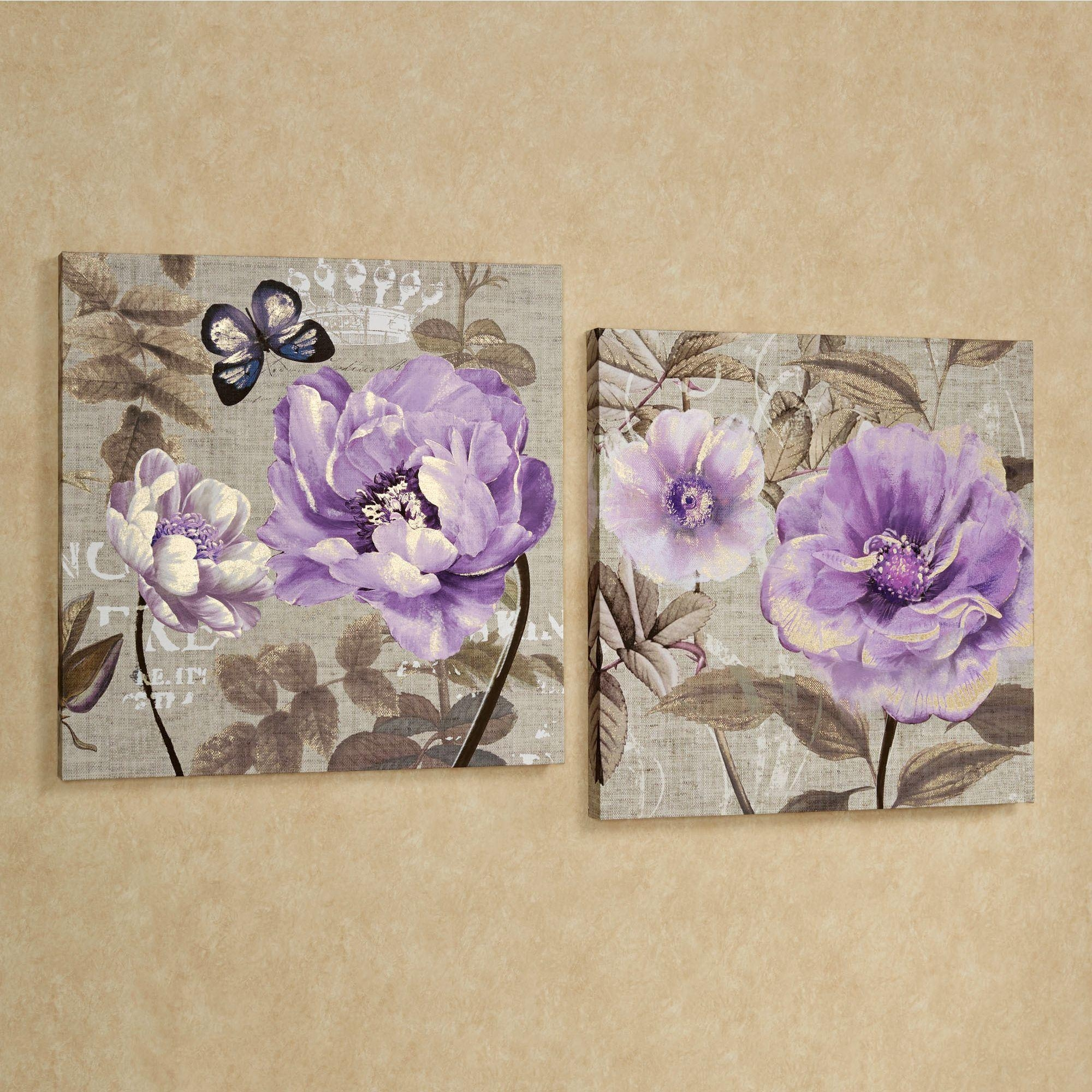 Floral Delight Purple Flower Canvas Wall Art Set With Purple Canvas Wall Art (Image 10 of 20)
