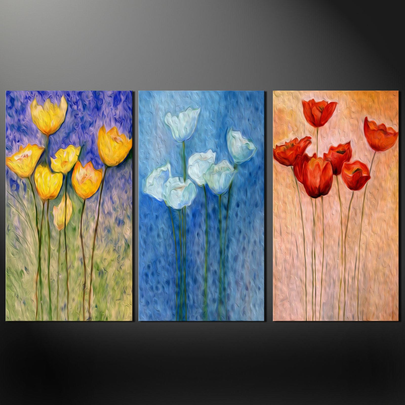Floral Design Poppies 3 Panels Split Canvas Wall Art Pictures Inside Split Wall Art (View 5 of 20)