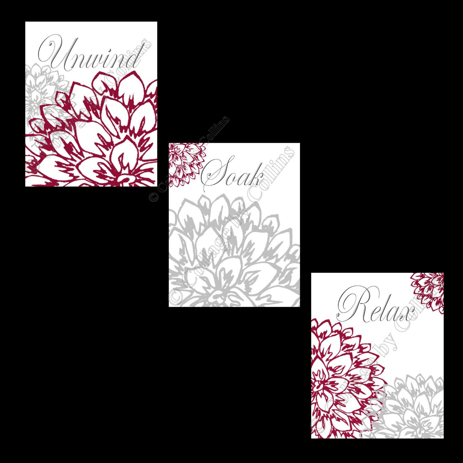 Floral Flower Gray And Burgundy Wall Art Prints Decor Bathroom With Burgundy Wall Art (Image 9 of 20)