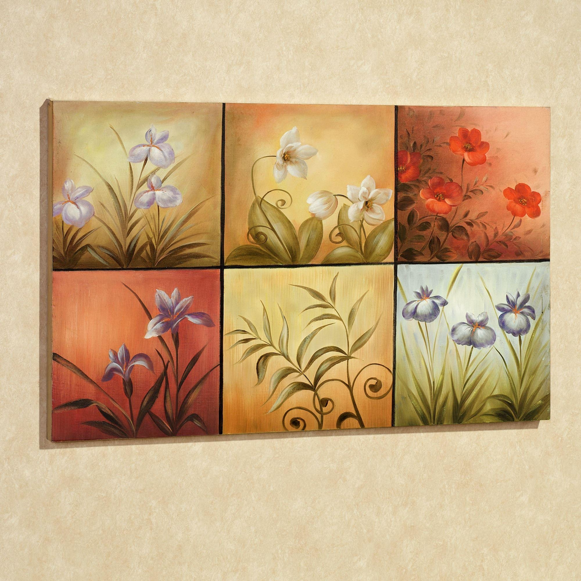 Floral Mystery Handpainted Canvas Wall Art With Regard To Multi Canvas Wall Art (View 4 of 9)