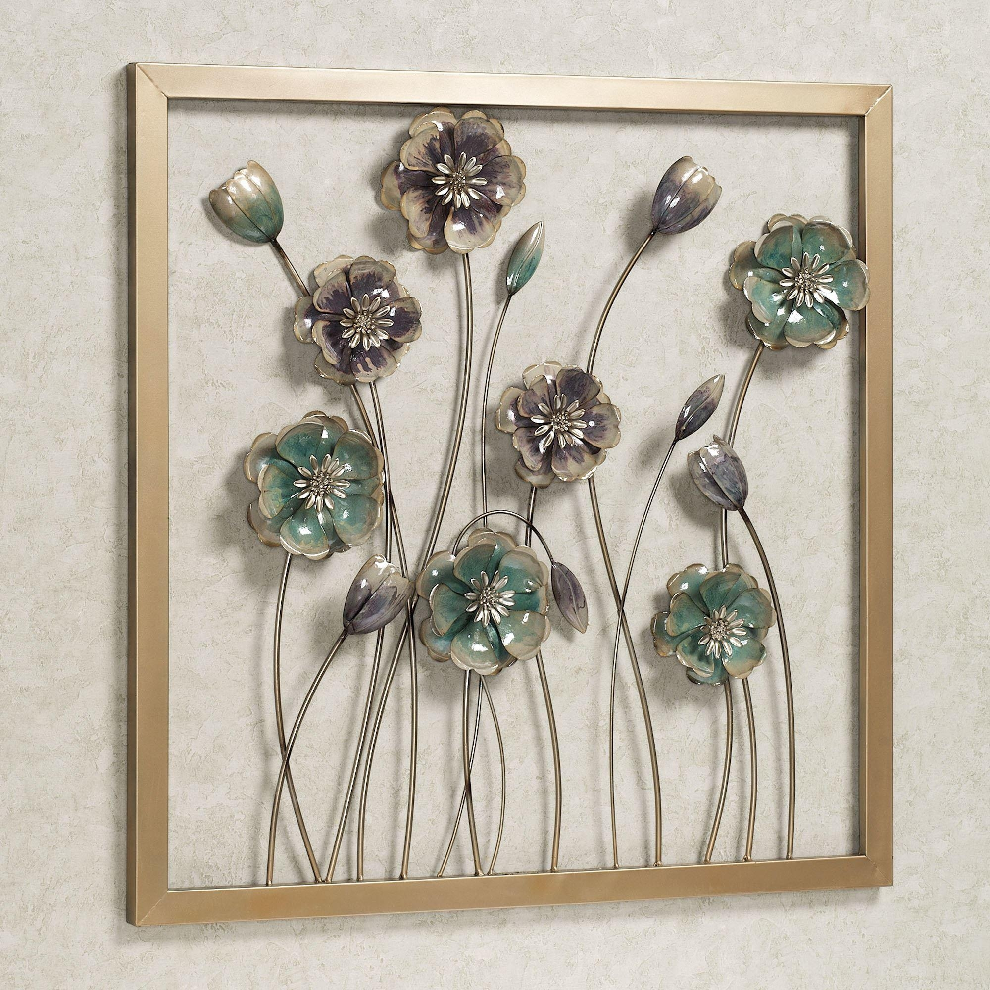 Floral Salute Square Metal Wall Art Within Gemstone Wall Art (Image 11 of 20)