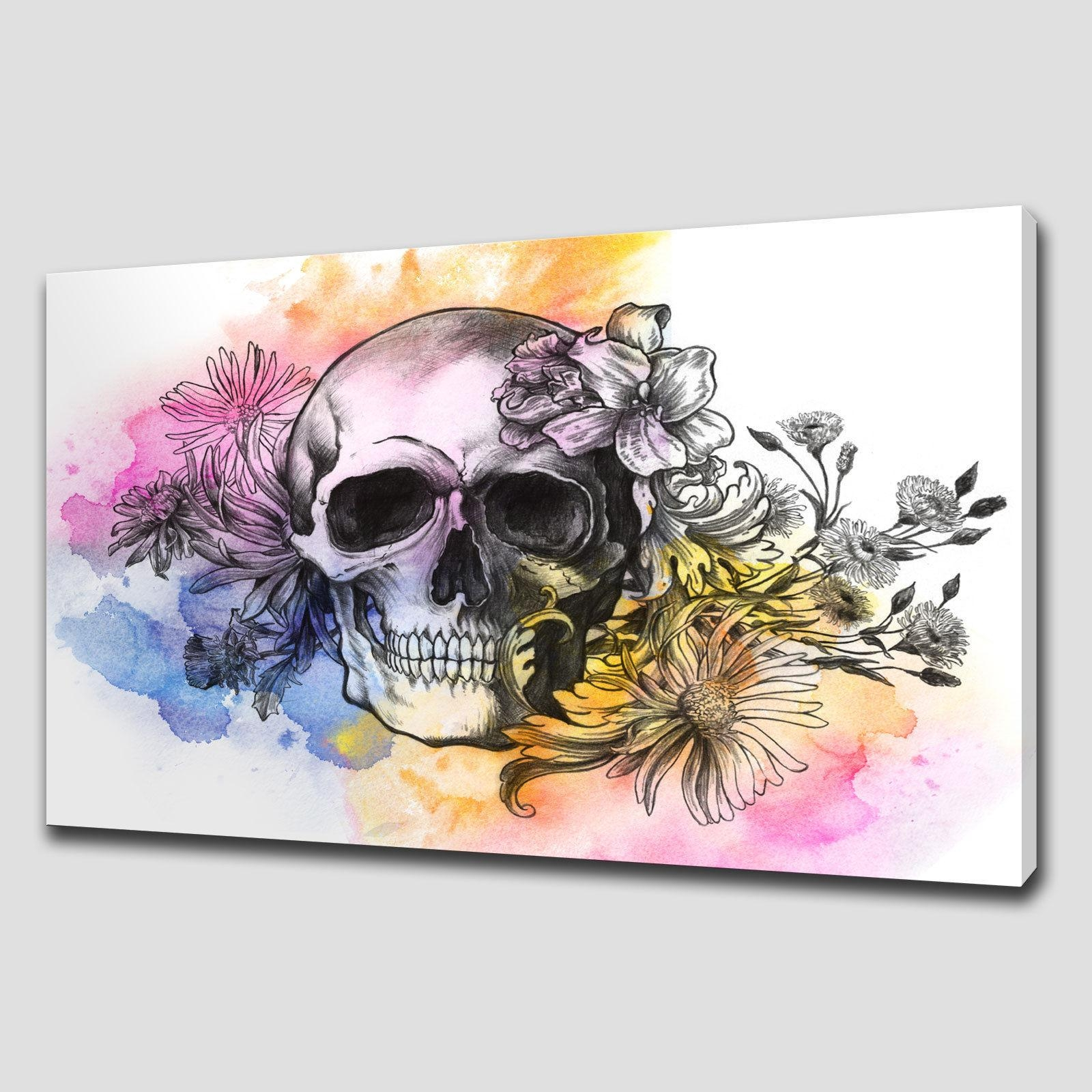 Floral Skull Large Canvas Wall Art – Canvas Print Art In Flower Wall Art Canvas (Image 12 of 20)