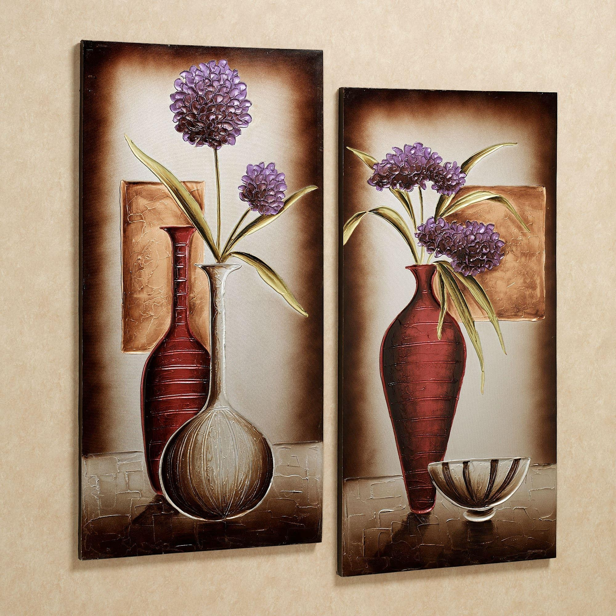Floral Tranquility Canvas Wall Art Set Throughout Flower Wall Art Canvas (Image 13 of 20)