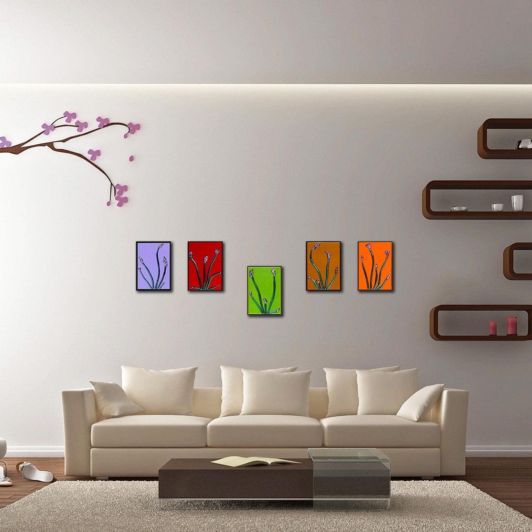 Floral Wall Art Set Of 5. Modern Glass Panels (View 12 of 20)