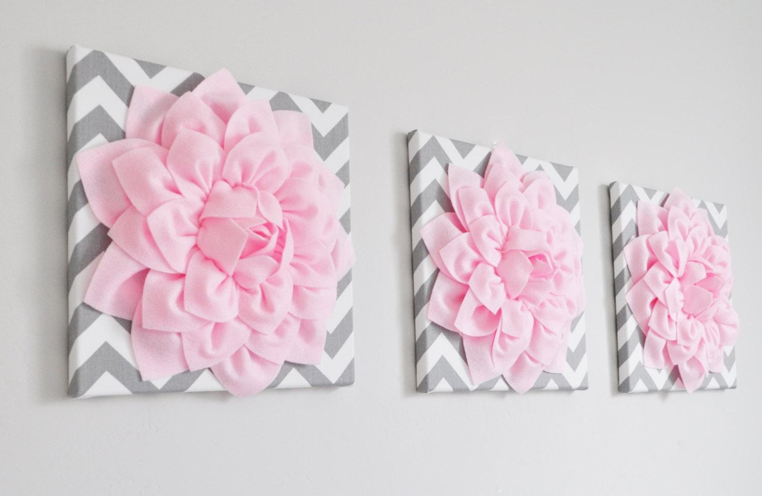 Floral Wall Art Set Of Three Light Pink Dahlia On Gray And In Pink Flower Wall Art (Image 9 of 20)