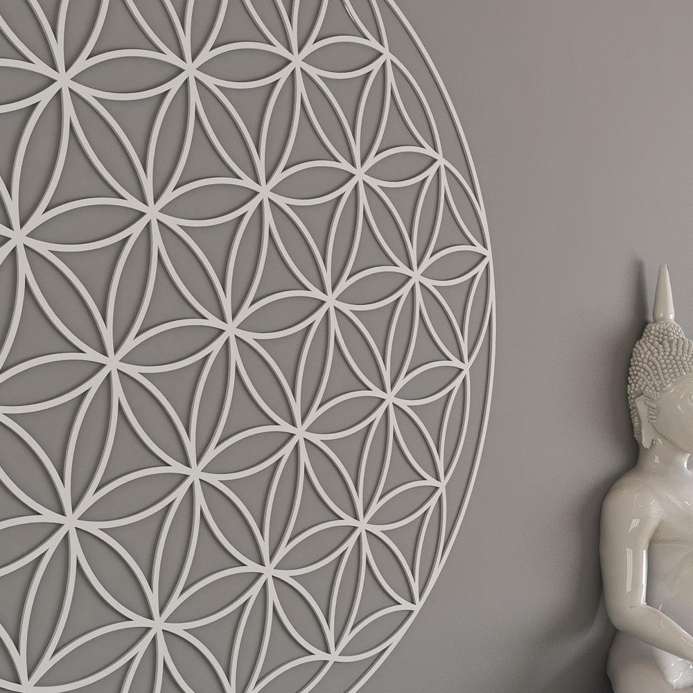 Flower Of Life Sacred Geometry Wall Art Mandala Yoga Intended For Fretwork Wall Art (View 5 of 20)