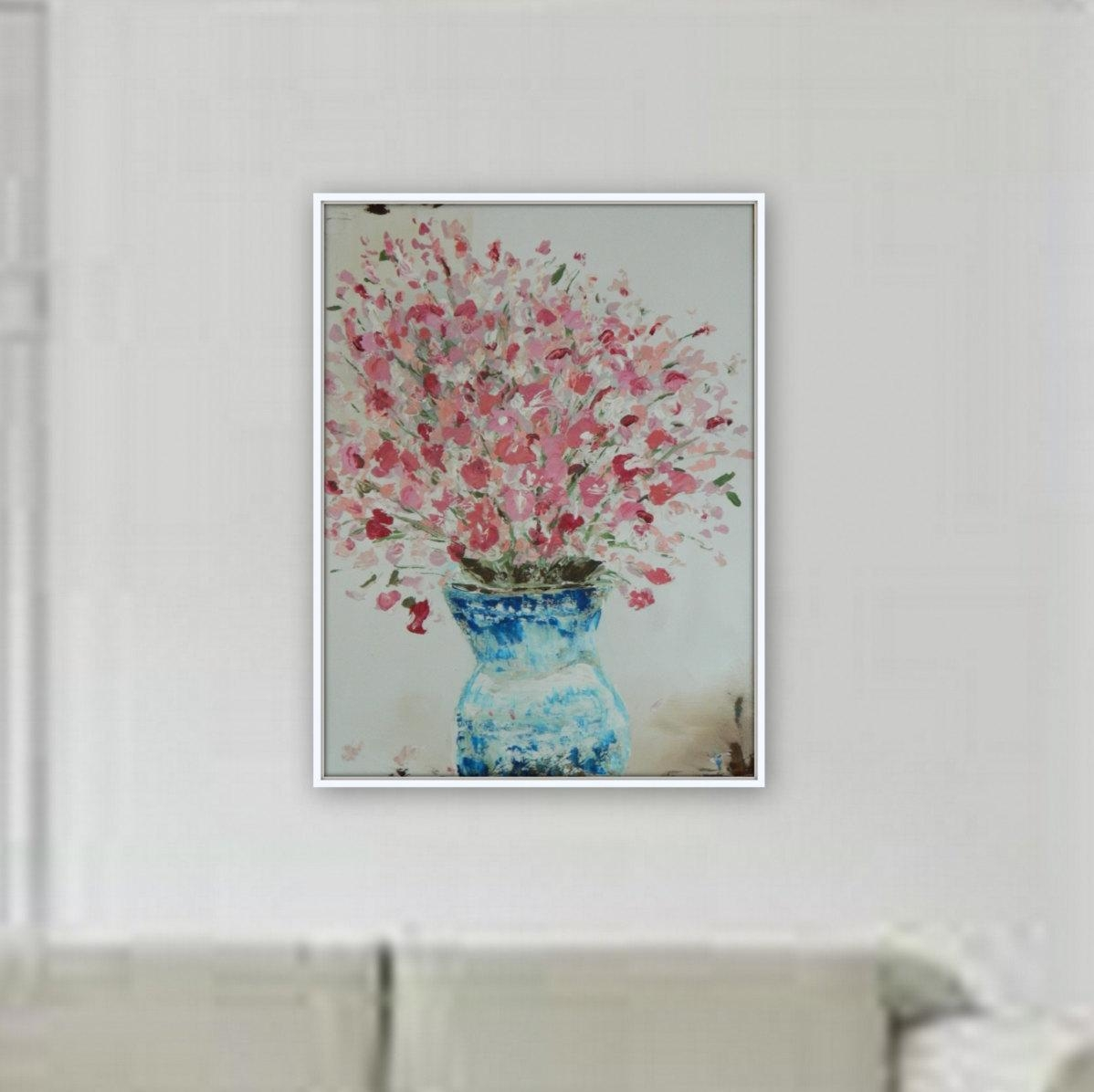 Flower Painting Original Wall Art Ready To Hang Canvas Painting Pertaining To 48X48 Canvas Wall Art (Image 9 of 20)