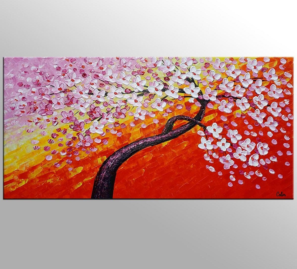 Flower Tree Painting, Canvas Wall Art, Flower Painting, Large Art Within Painted Trees Wall Art (View 19 of 20)