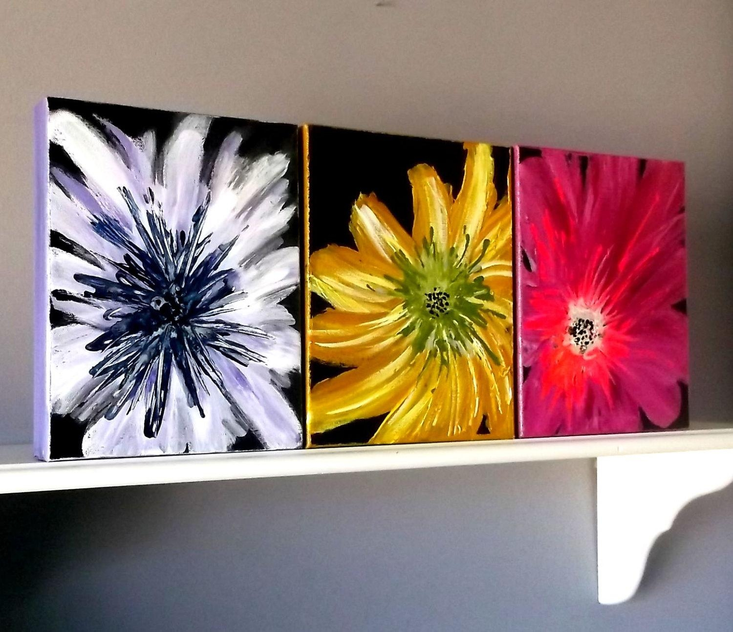 Flower Wall Decor Acrylic Painting Home Decor Wall Hanging With Regard To Vibrant Wall Art (Image 7 of 20)