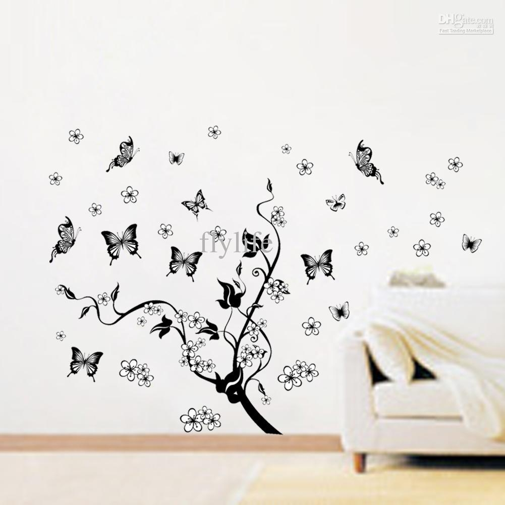 Flowers And Black Butterflies Vine Decals, Art Vinyl Wall Decor Within Butterflies Wall Art Stickers (Image 9 of 20)