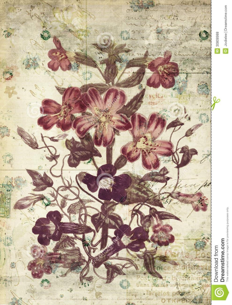 Flowers Botanical Vintage Style Wall Art With Textured Background With Vintage Style Wall Art (View 6 of 20)