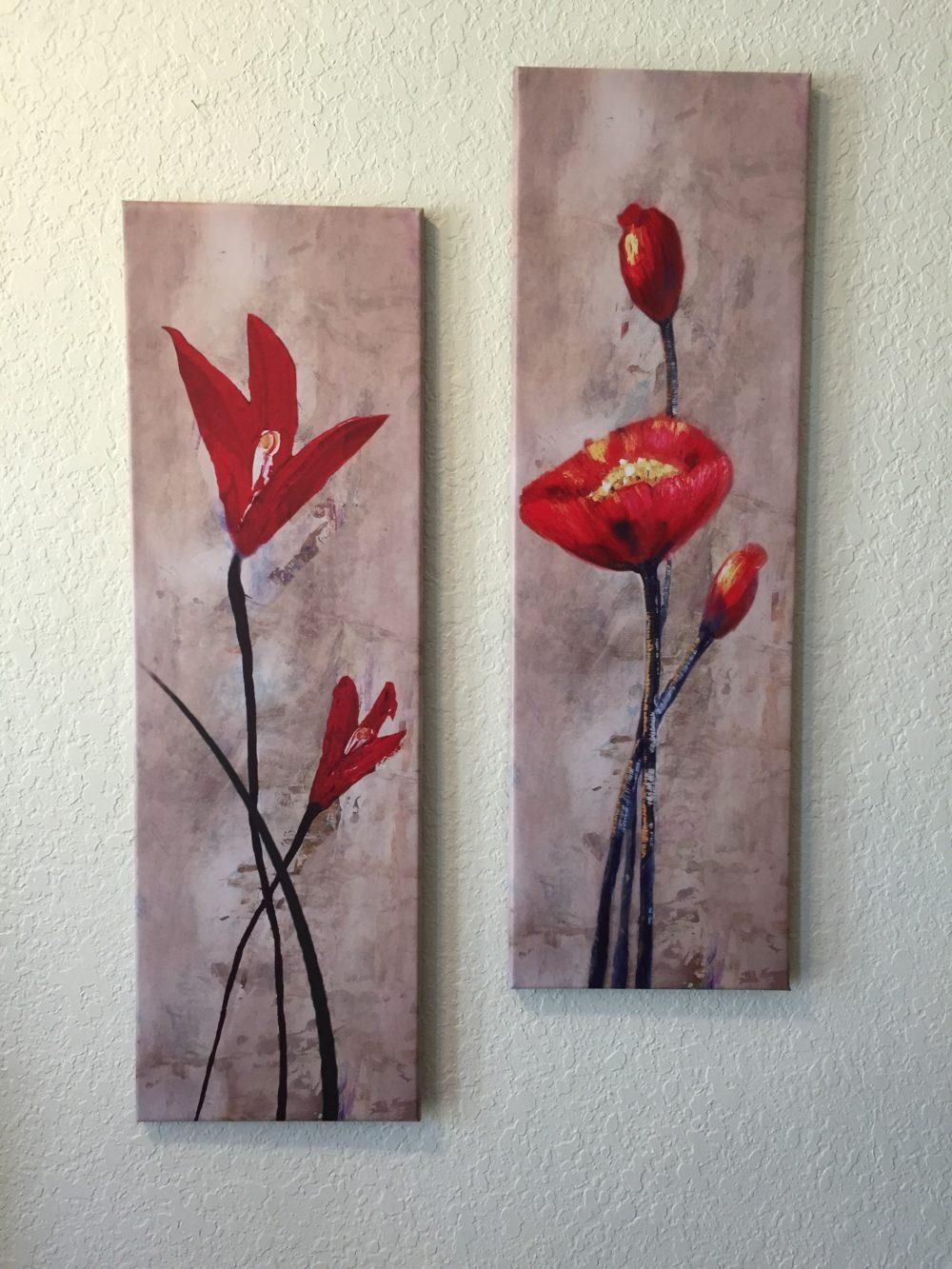 Flowers Composition Vertical Painting 2 Piece Wall Art Regarding 4 Piece Wall Art (Image 10 of 19)