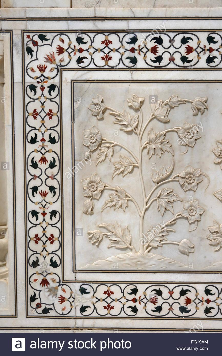 Flowers Marble Relief Taj Mahal Stock Photos & Flowers Marble For Taj Mahal Wall Art (View 13 of 20)