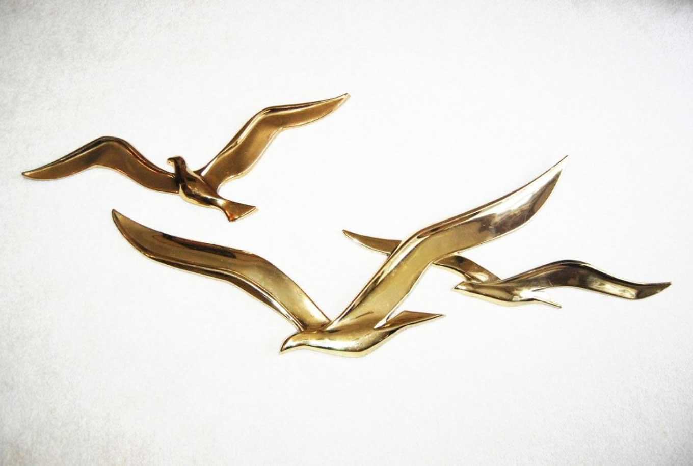 Flying Birds Metal Wall Art Gold Sculpture | Home Interior & Exterior Inside Birds In Flight Metal Wall Art (Image 10 of 20)