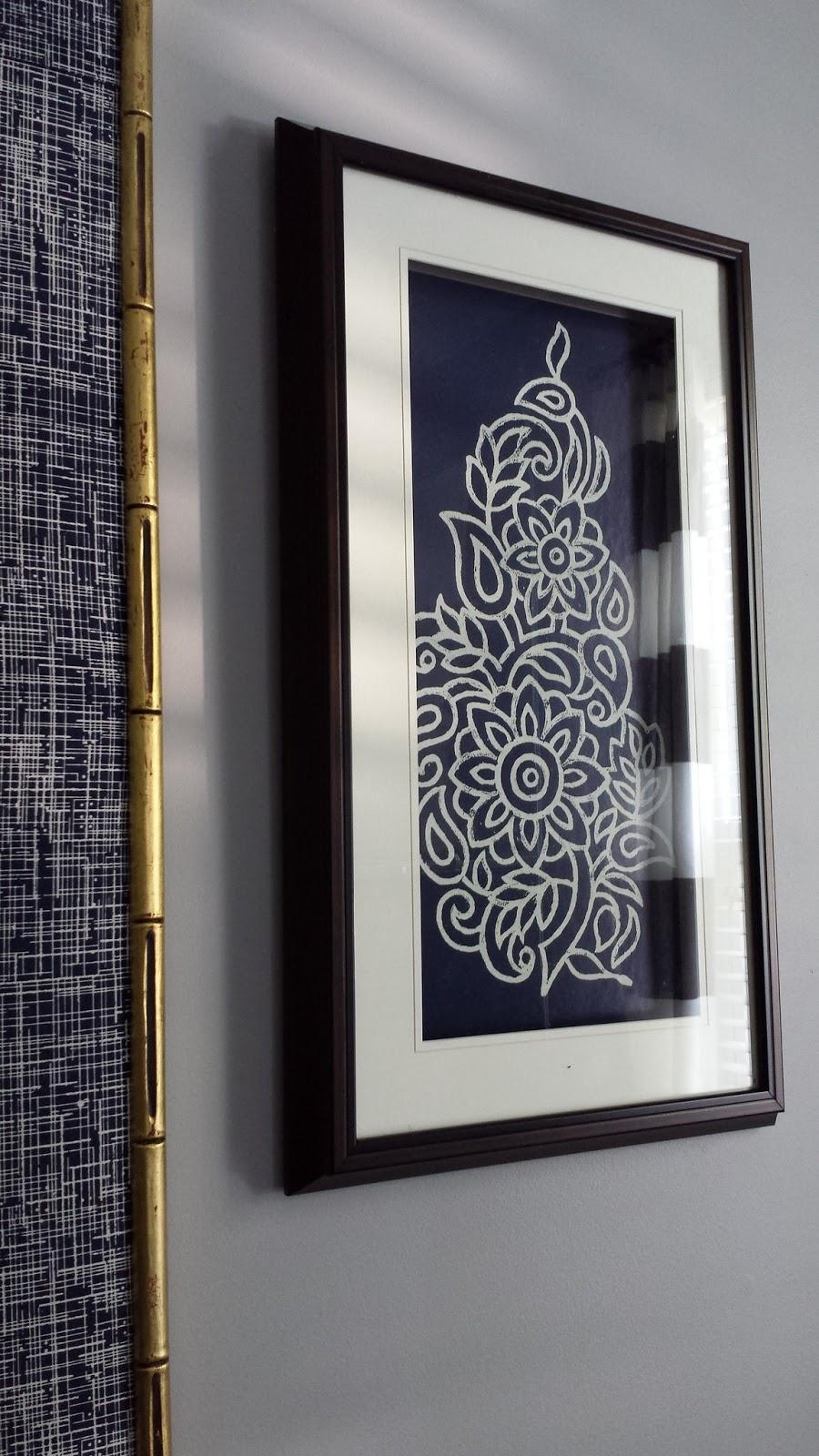 Focal Point Styling: Diy Indigo Wall Art With Framed Fabric For Framed Fabric Wall Art (Image 6 of 20)