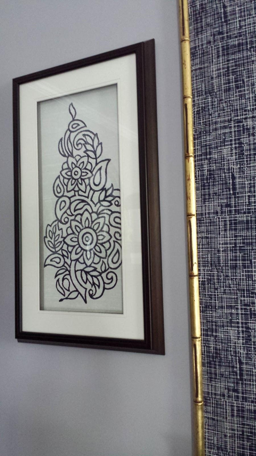 Focal Point Styling: Diy Indigo Wall Art With Framed Fabric Throughout Fabric Wall Art (Image 11 of 20)
