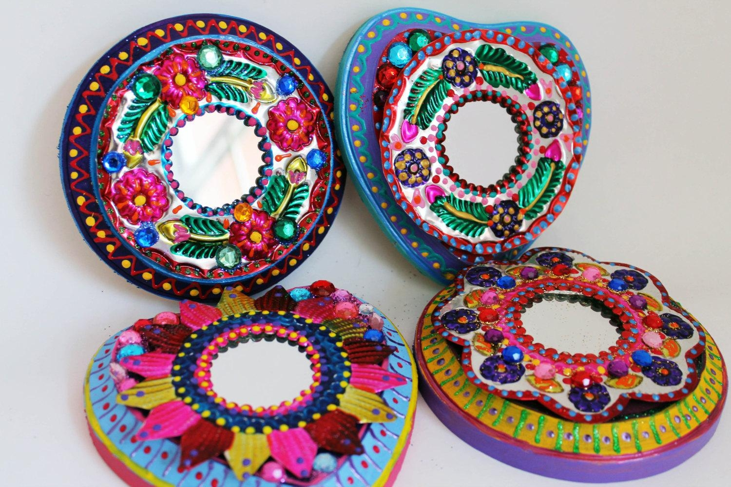 Folk Art Metal Mirror From Mexico On Wood Plaque / Mexican Regarding Mexican Metal Art (Image 12 of 20)
