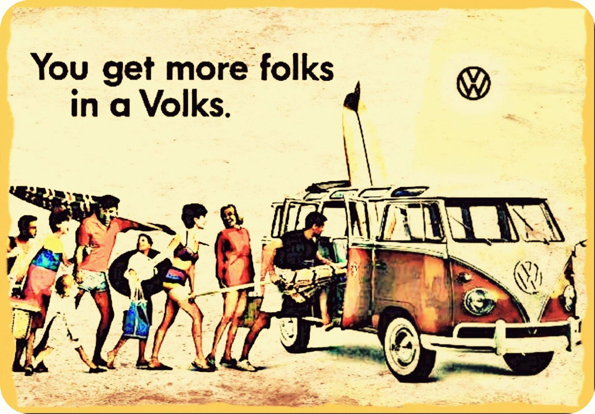 Folks Vw Camper Vintage Metal Wall Plaque From My Original Art Work Regarding Campervan Metal Wall Art (Image 6 of 20)