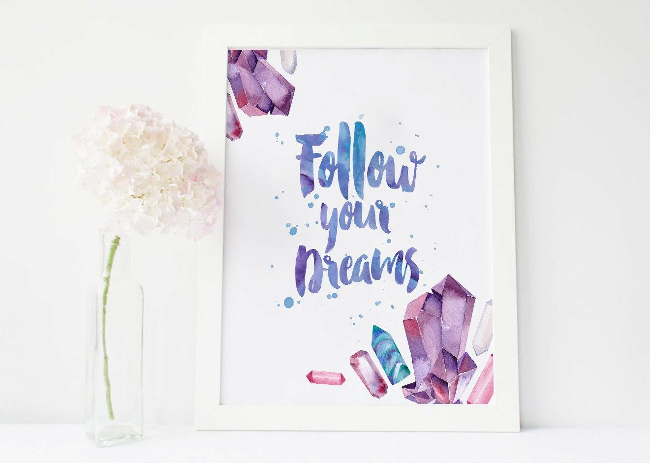 Follow Your Dreams Gemstone Print Gems Wall Decor Gemstone Inside Gemstone Wall Art (Image 12 of 20)