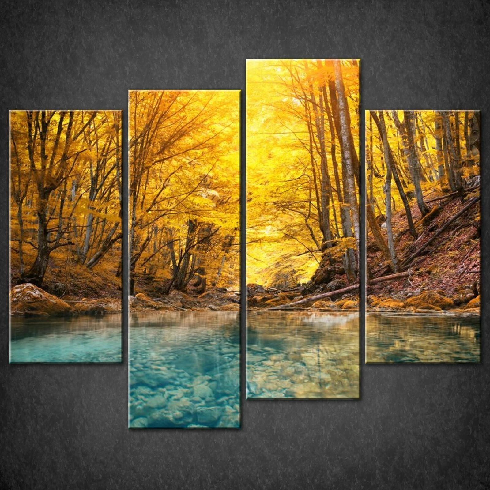 Forest Autumn River Split Canvas Wall Art Pictures Prints Larger With Regard To Split Wall Art (Image 5 of 20)