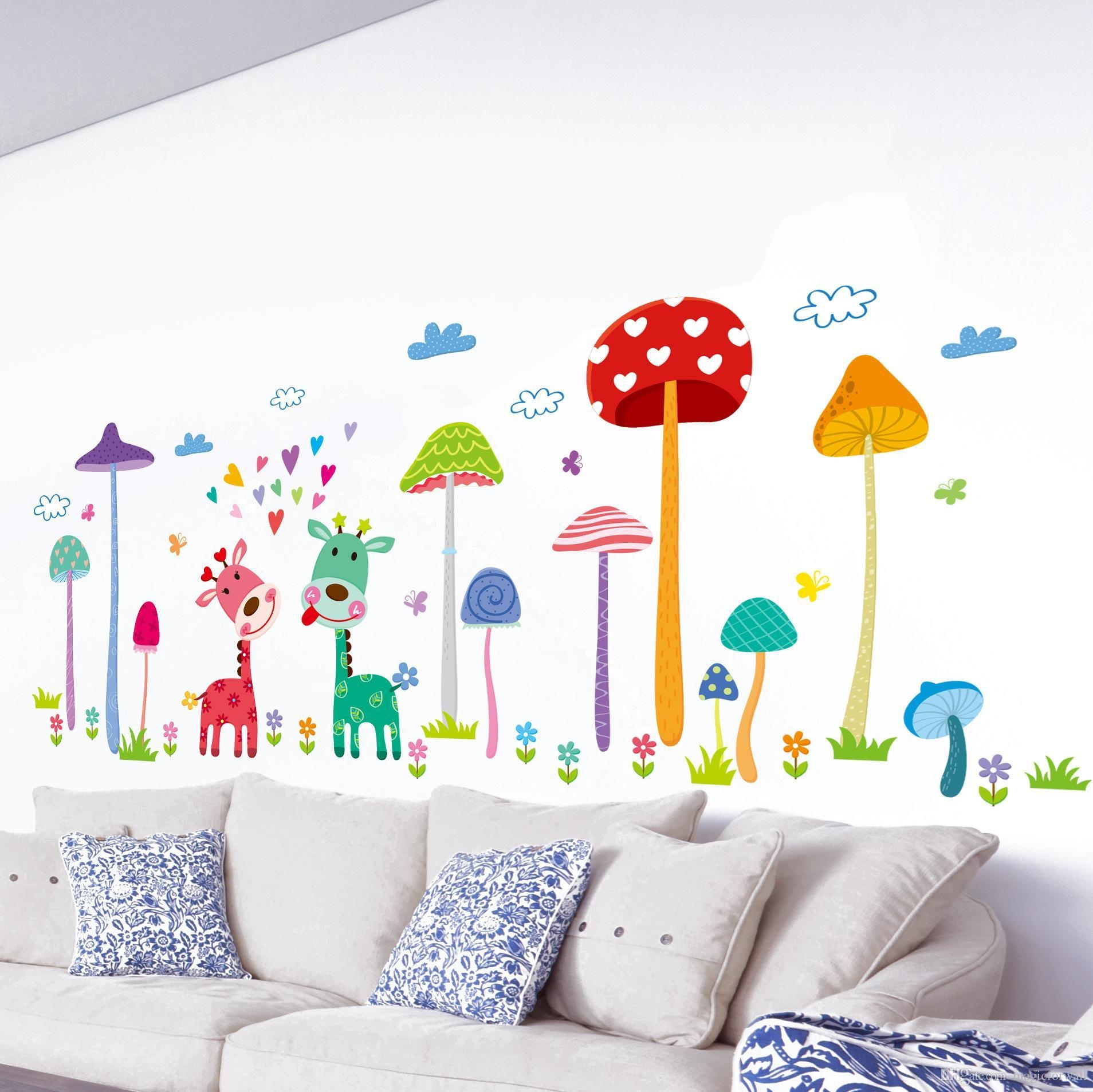 Forest Mushroom Deer Animals Home Wall Art Mural Decor Kids Babies In Wall Art Stickers For Childrens Rooms (View 10 of 20)