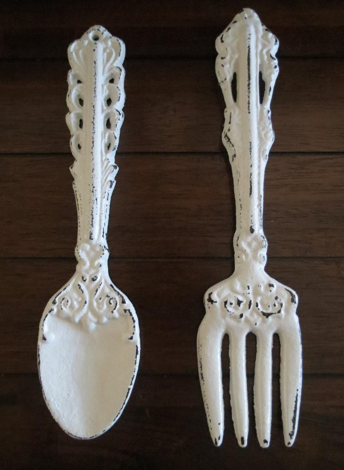 Fork And Spoon Wall Art / Antique White Or Pick Color / Large Within Large Utensil Wall Art (Image 2 of 20)