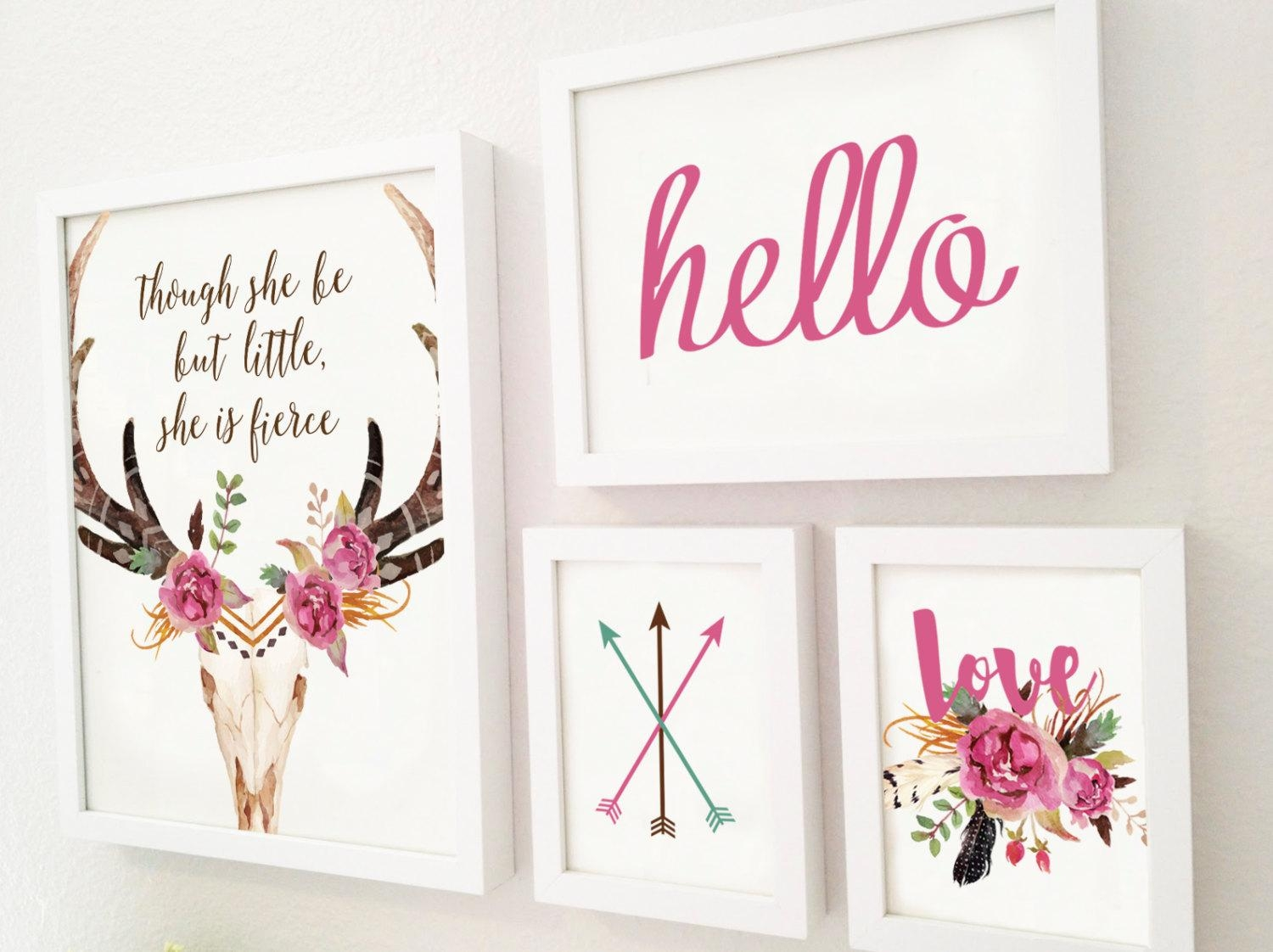 Four Piece Gallery Wall Set Children's Room Art Rustic Intended For Wall Art Print Sets (View 5 of 20)