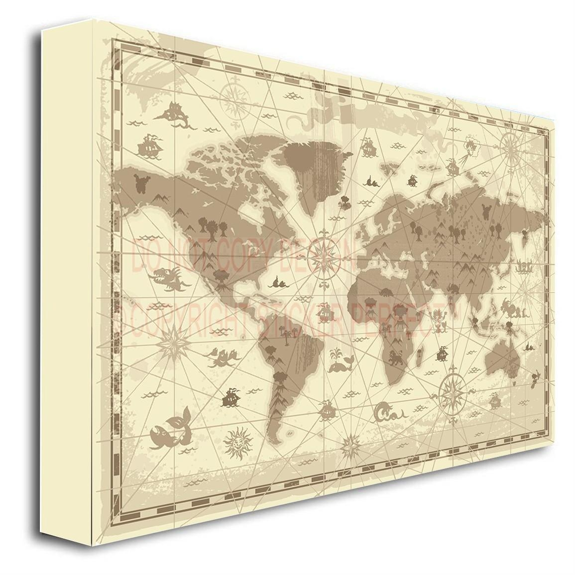 Framed Canvas Print World Map Kids Children Learning Cute Wall Art Pertaining To Framed World Map Wall Art (View 15 of 20)